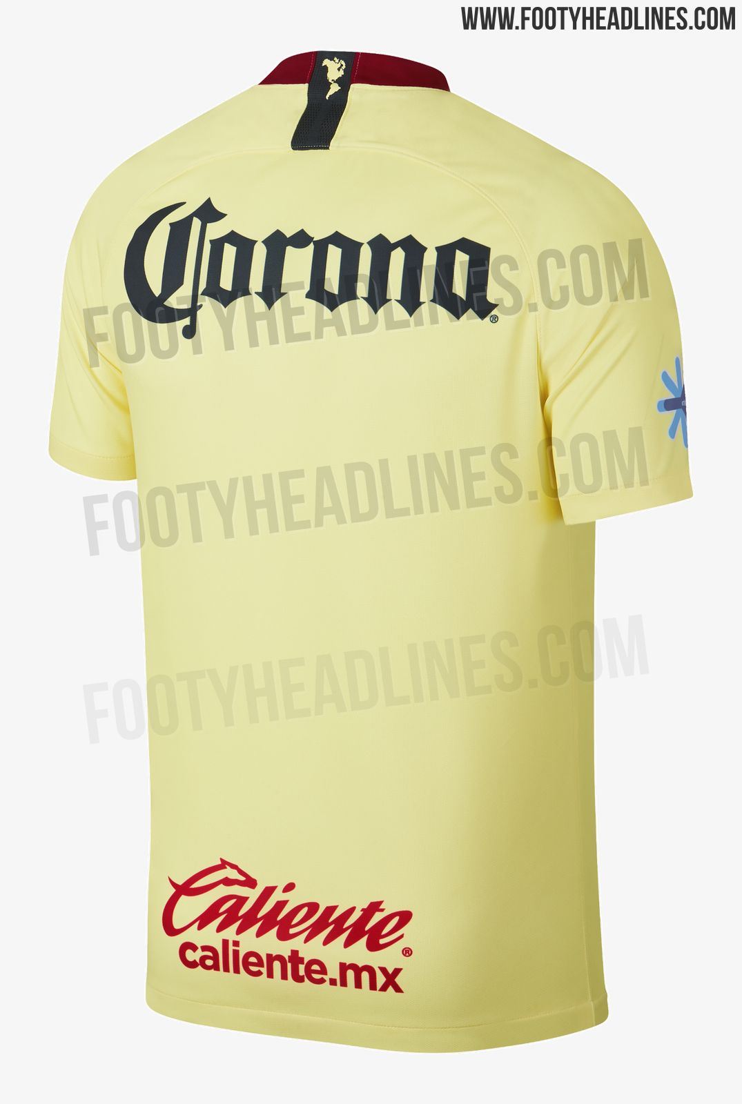 2b06aecc4e8 The new Club America 18-19 home shirt is yellow cream with a navy diagonal  block on the front. Red details on the color block design and the collar  add a ...