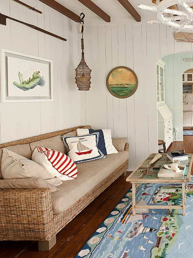 Wicker Sofa Coastal Style Living Decor Ideas