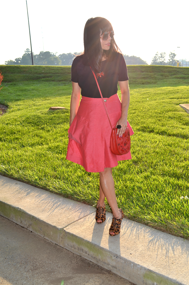 Anthropologie Red skirt