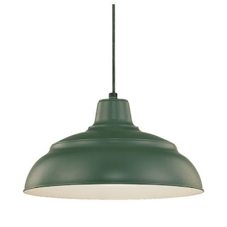 green metal hanging pendant light