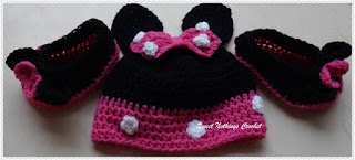 free crochet pattern for Minnie mouse booties and cap