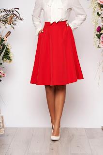 Fusta StarShinerS rosie midi eleganta in clos