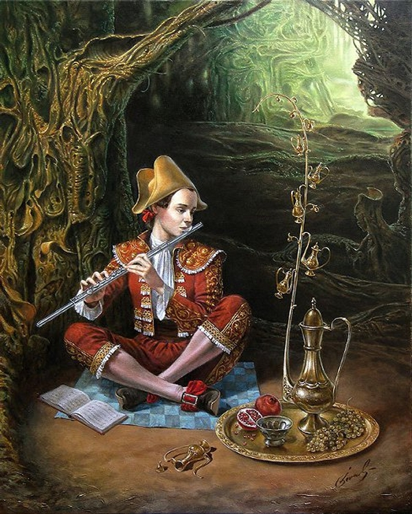07-magic-flute-Michael-Cheval-Surreal-Paintings-that-Draw-inspiration-from-The-East-and-West-www-designstack-co