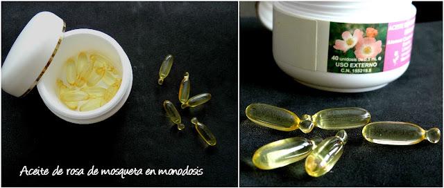 Aceite de rosa de mosqueta en monodosis para masaje perineal