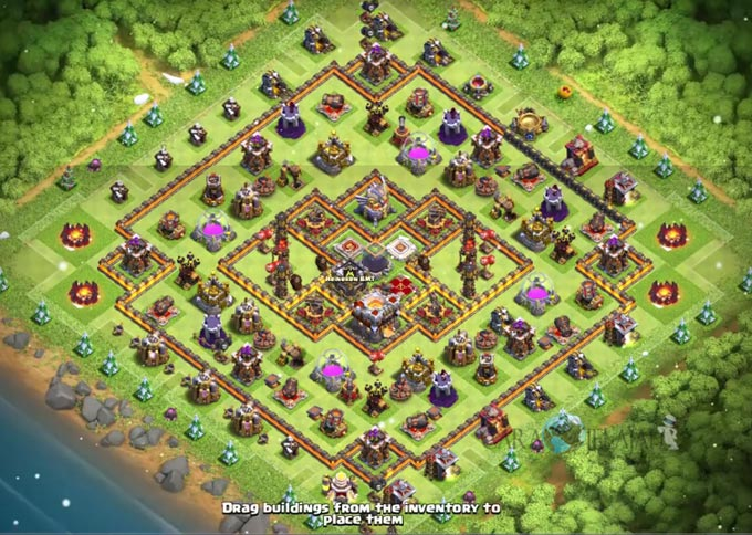 Base Hybrid TH 11 COC Update Bomb Tower Terbaru 2017 Tipe 6