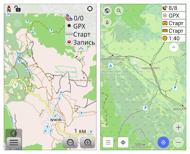 OsmAnd - окно с картой. Слева - версия 1.9.5, справа - версия 2.5.4.