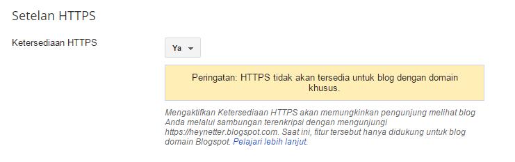 cara mengaktifkan fitur HTTPS di blogspot