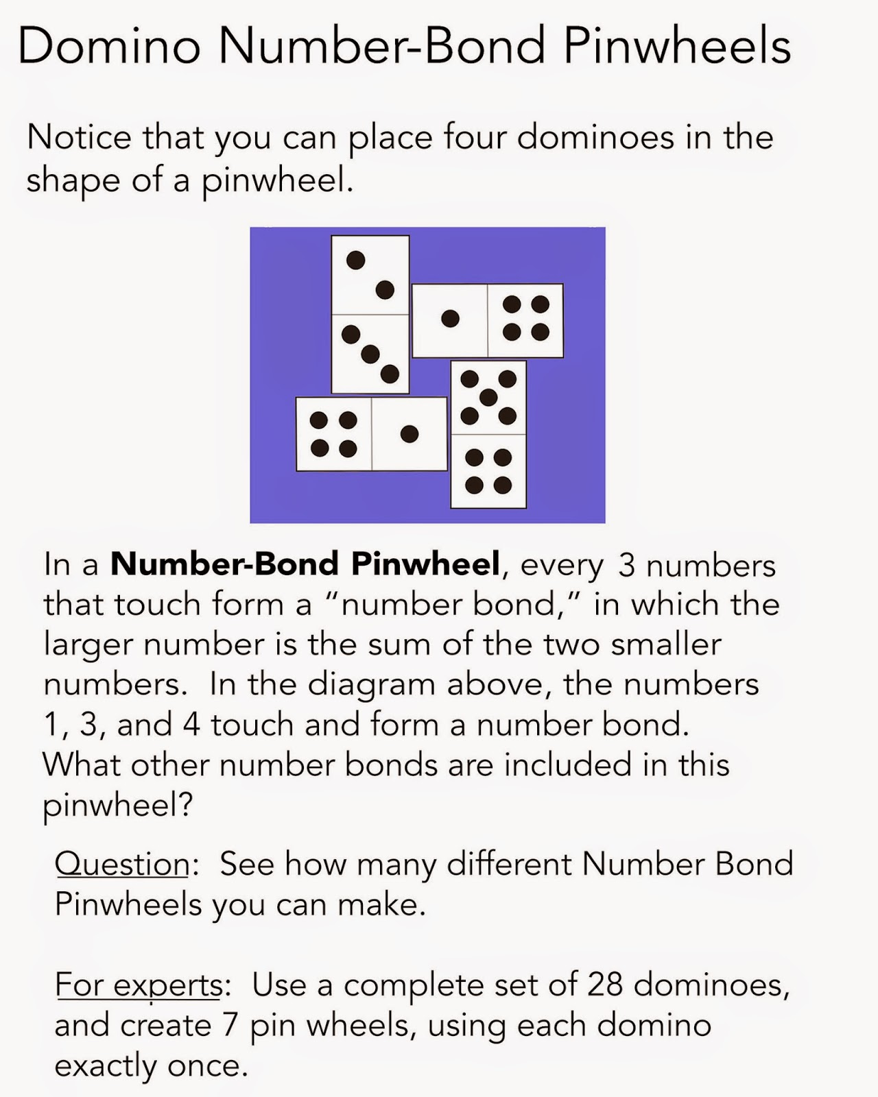 Math Problems Puzzles Games To Practice Number Bonds