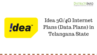 Idea 3G/4G Internet Plans (Data Plans) in Telangana State
