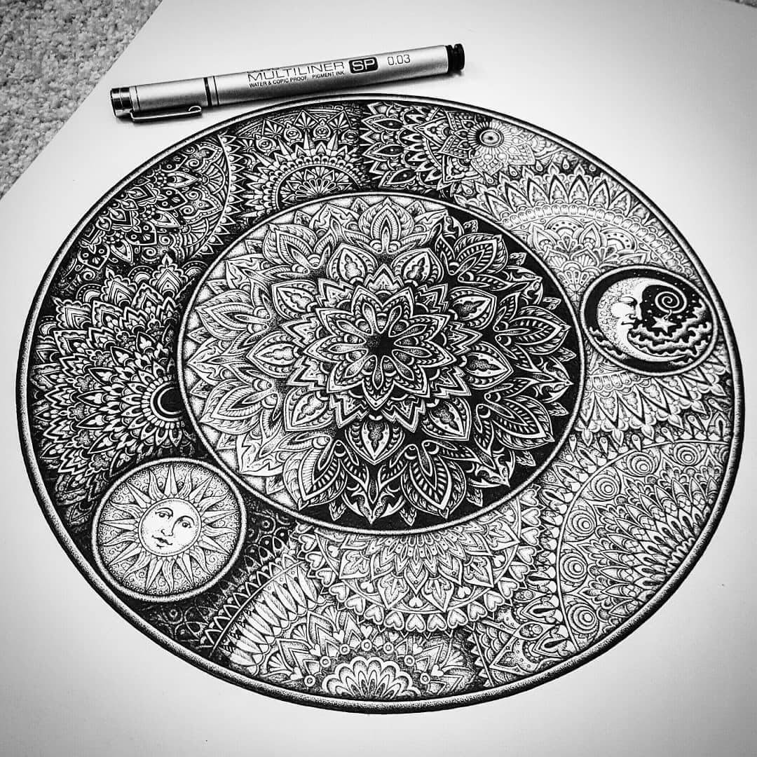06-The-sun-and-the-moon-Baz-Furnell-3D-Looking-Mandala-Drawings-www-designstack-co
