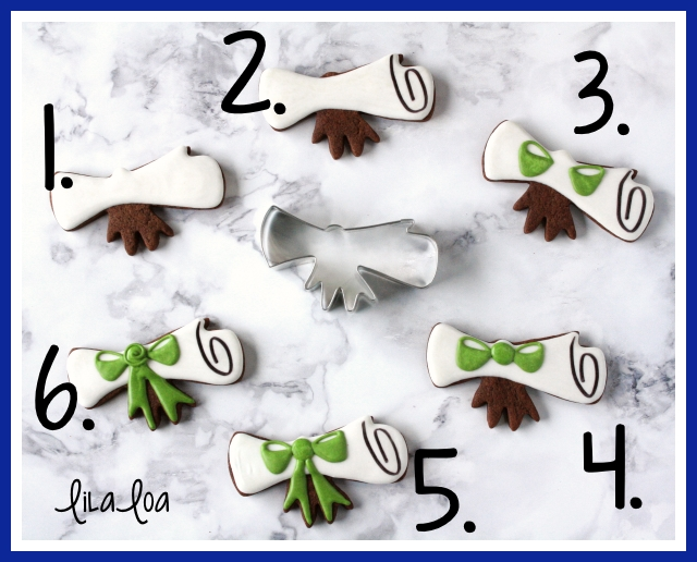 Graduation decorated cookies -- easy diploma with a bow tutorial