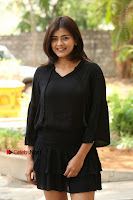 Actress Hebah Patel Stills in Black Mini Dress at Angel Movie Teaser Launch  0013.JPG