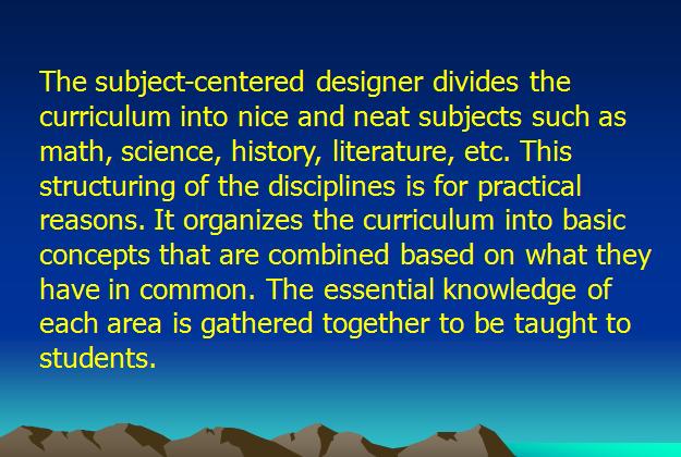 Konsep dan Pembahagian Kurikulum Subject Center