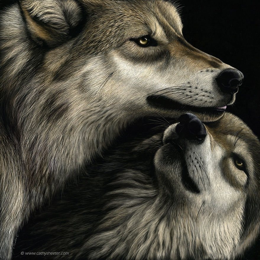 09-Wolfs-Family-Reunion-Cathy-Sheeter-Hyper-Realistic-Scratchboard-Wild-Animal-Drawings-www-designstack-co