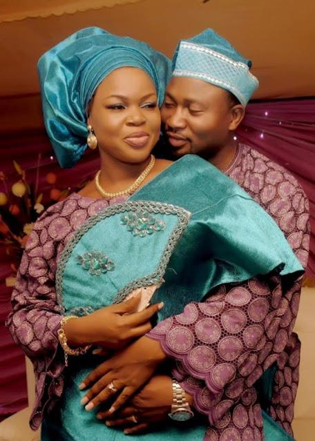 Taiwo Aromokun and husband on wedding day