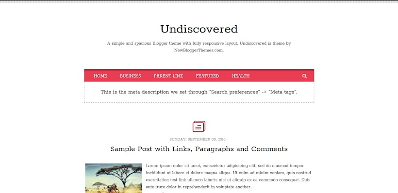 Undiscovered Free Blogger Template