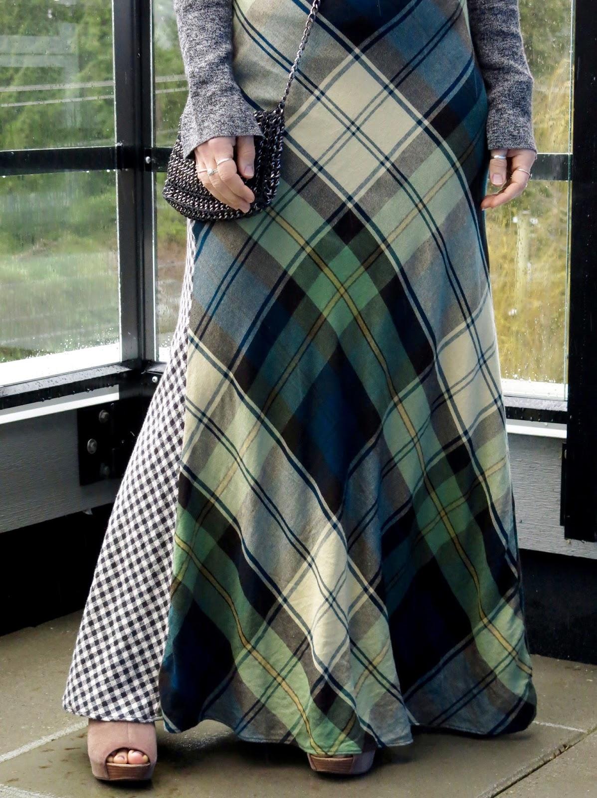plaid flannel Denim & Supply maxidress, cross-body bag