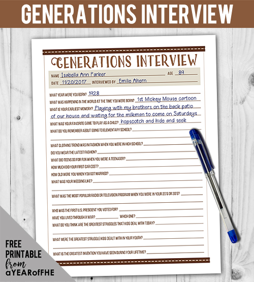 This is such a great download for older kids and teens to use to interview their parents or grandparents!