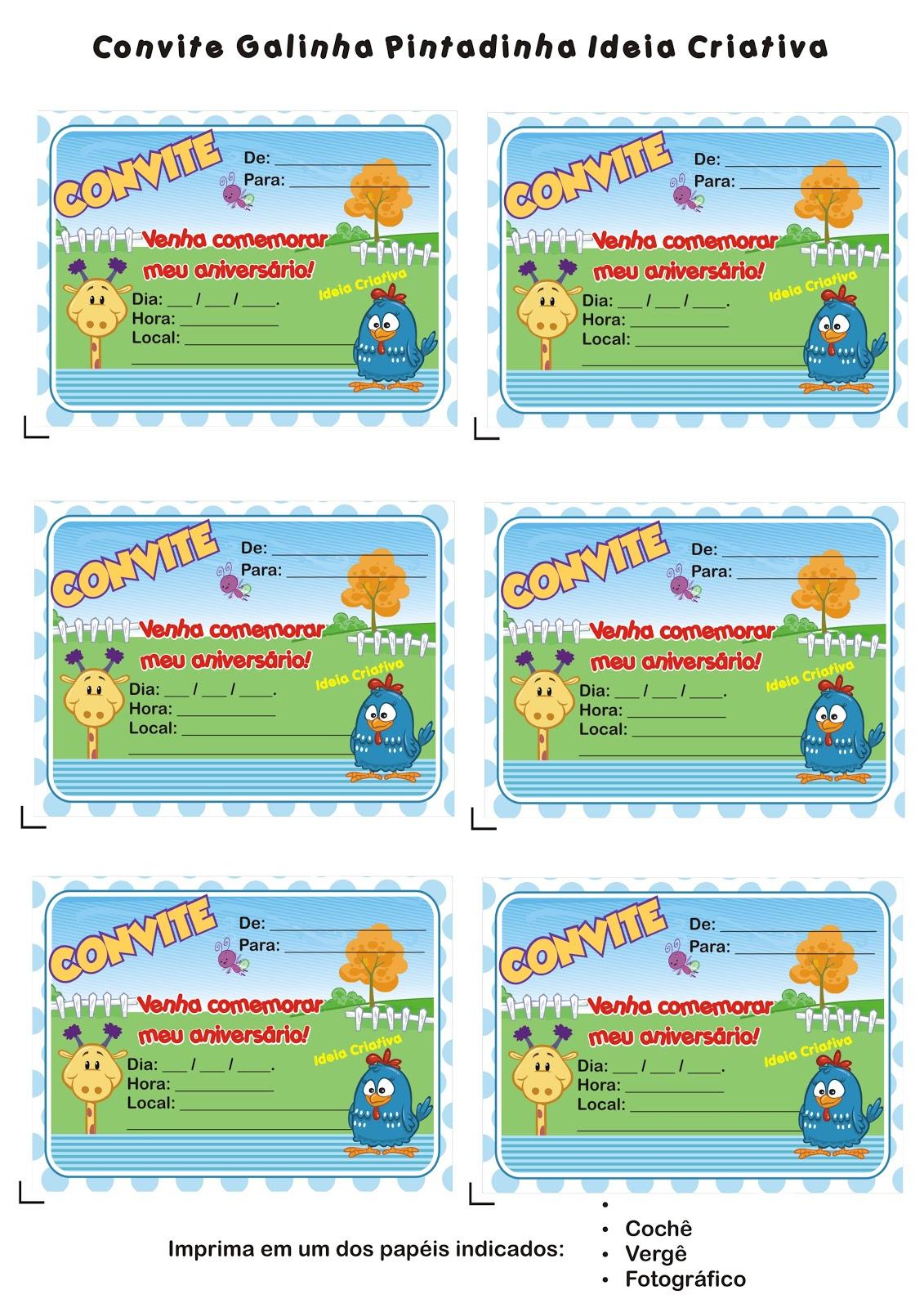 Convites De Aniversário E Festas Infantis Convite Galinha