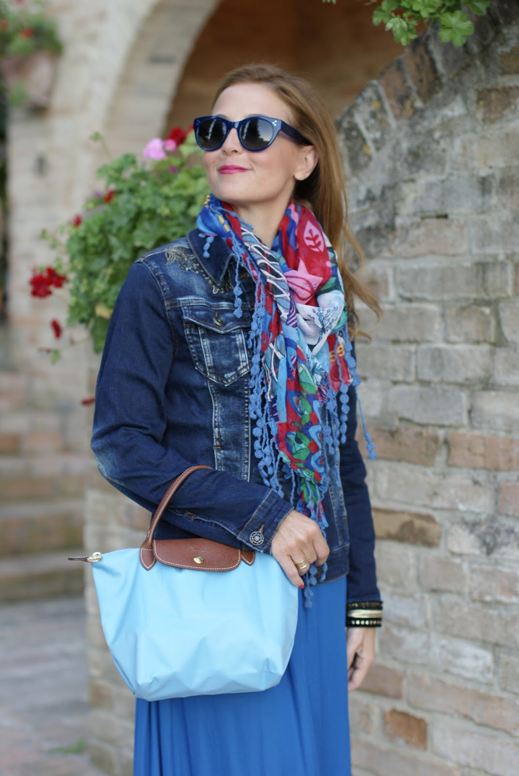 #DesigualSales denim jacket Magda and mini Longchamp bag on Fashion and Cookies fashion blog, fashion blogger style