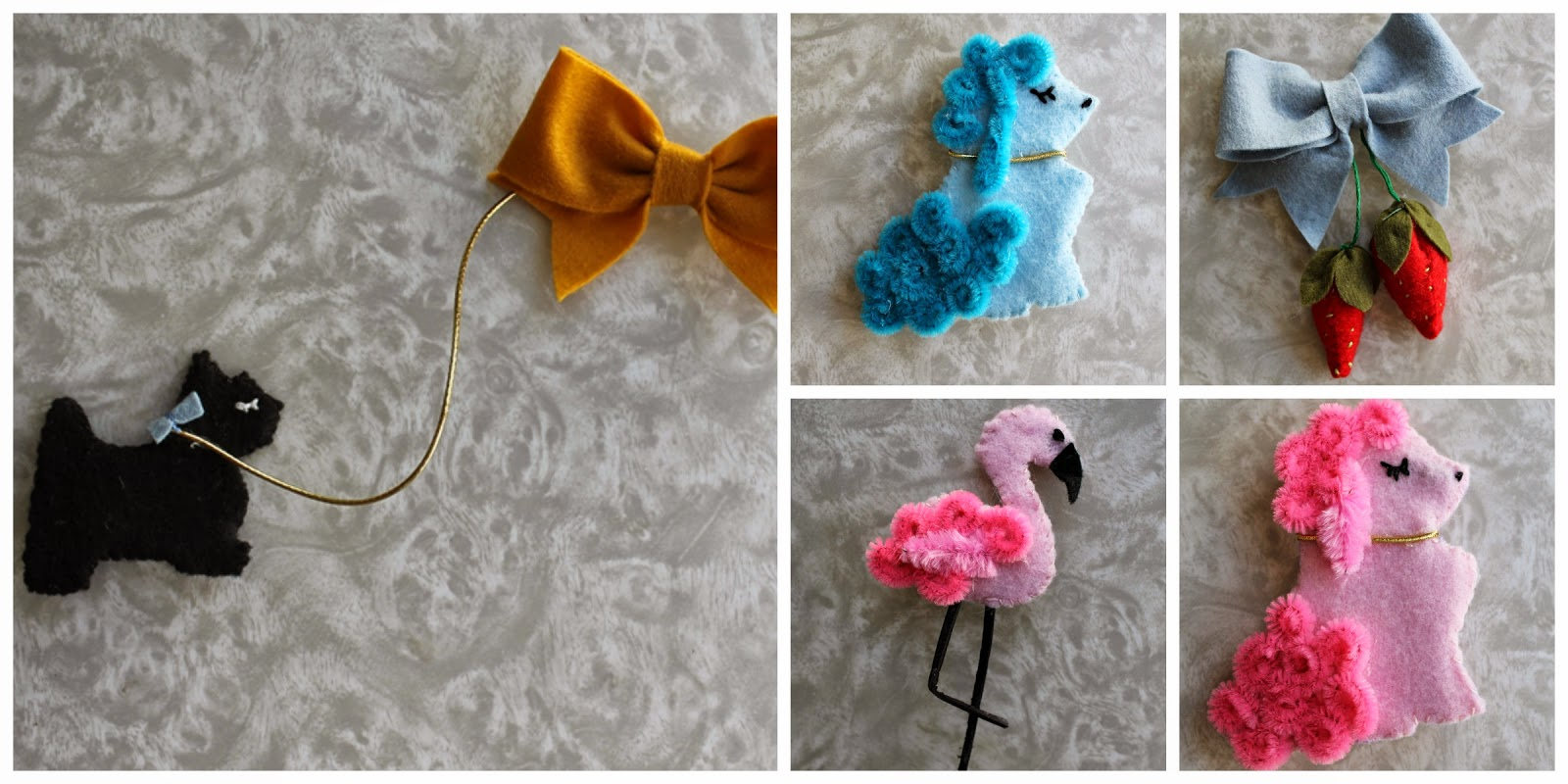 vintage felt novelty brooches handmade by wacky tuna vintage on etsy