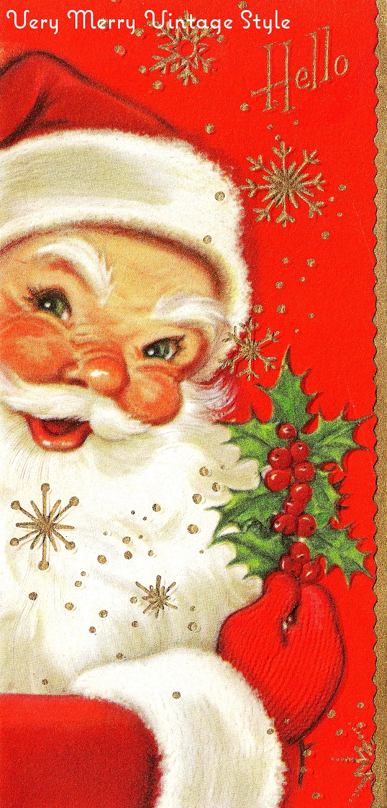 very merry vintage syle hey santa vintage christmas card. Black Bedroom Furniture Sets. Home Design Ideas