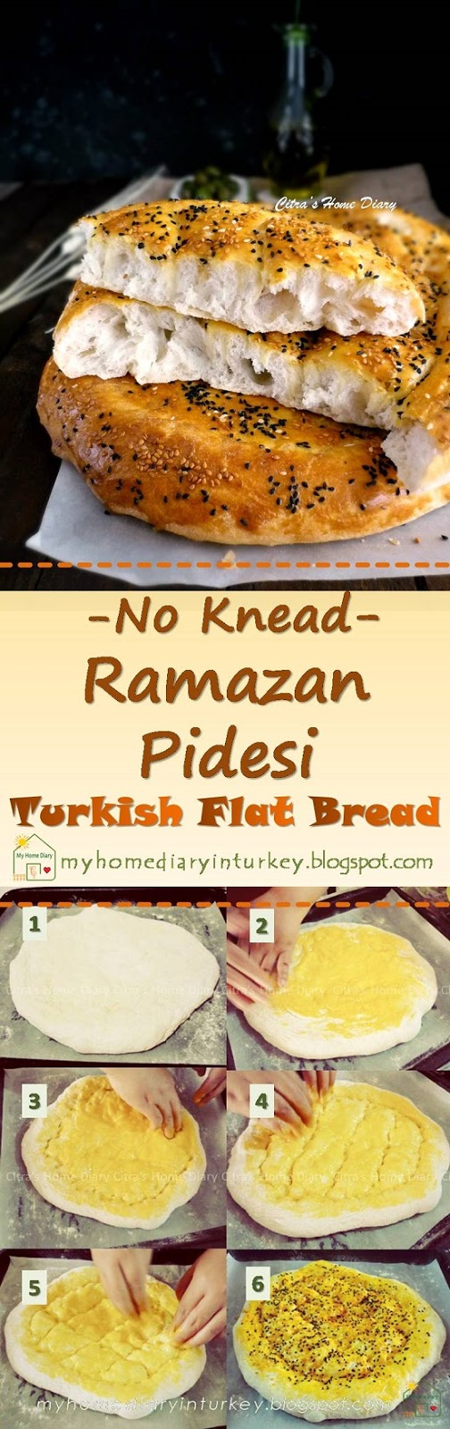 No knead Ramazan Pidesi / Turkish Pide bread (flat bread) with step by step pictures| Çitra's Home Diary