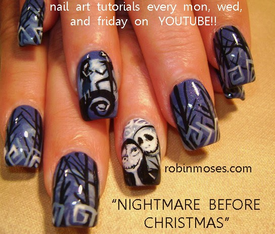 nail art by robin moses nail art nightmare before christmas nails christmas nail art best christmas nail art christmas nails jack skellington nails