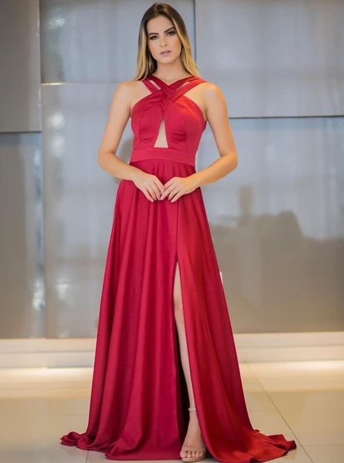 vestido de festa longo vermelho fluido