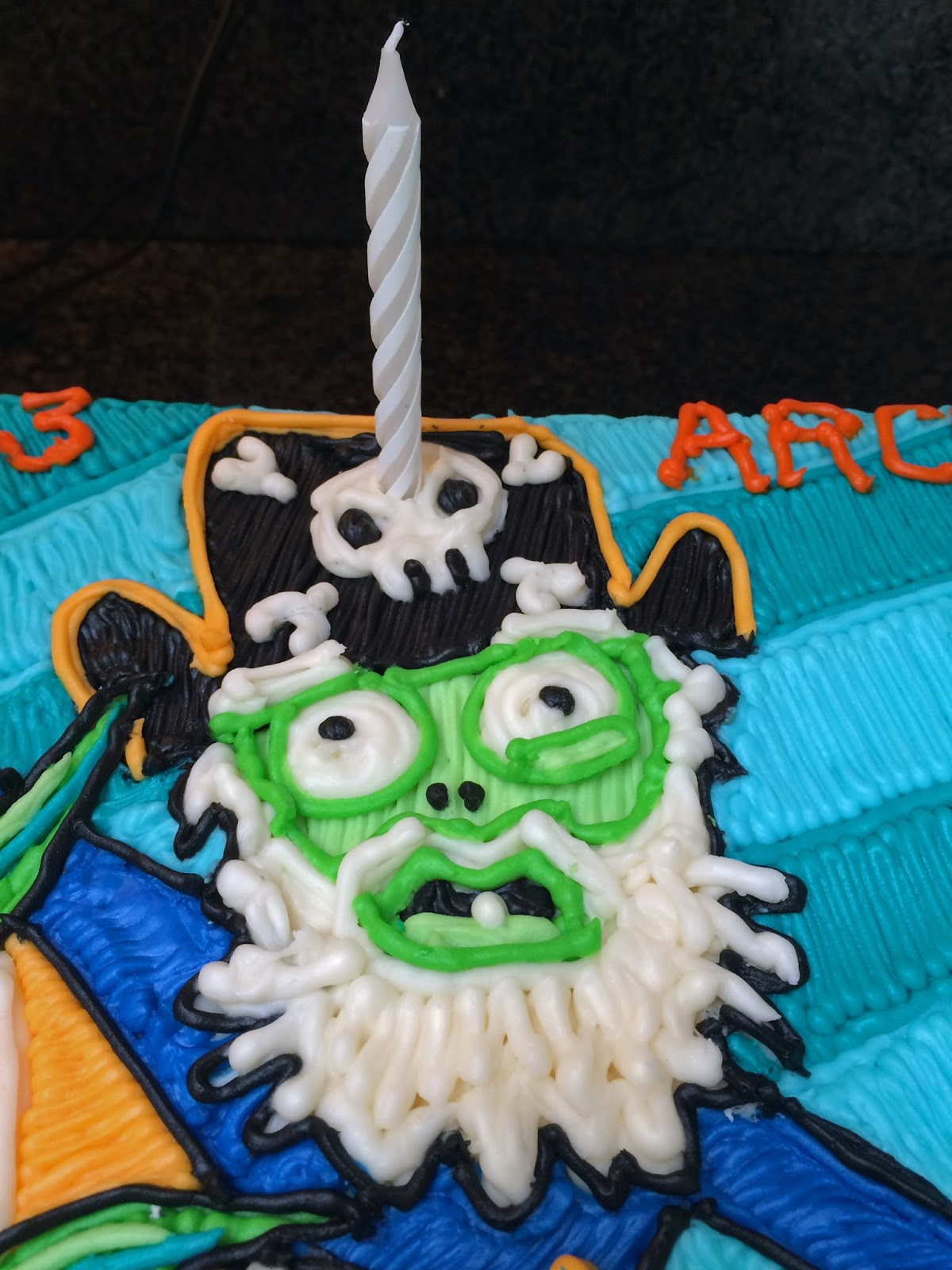 Agent Orange And The Pirate Zombie From Plants Vs Zombies 2 On A Birthday Cake With Strategically Placed Candle