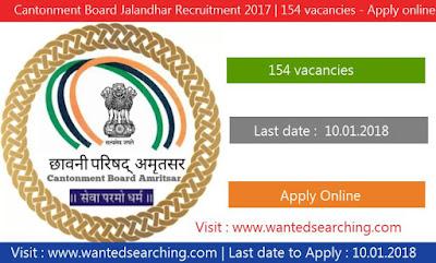 Cantonment Board Jalandhar Recruitment 2017   154 vacancies notification for Safaiwala Posts