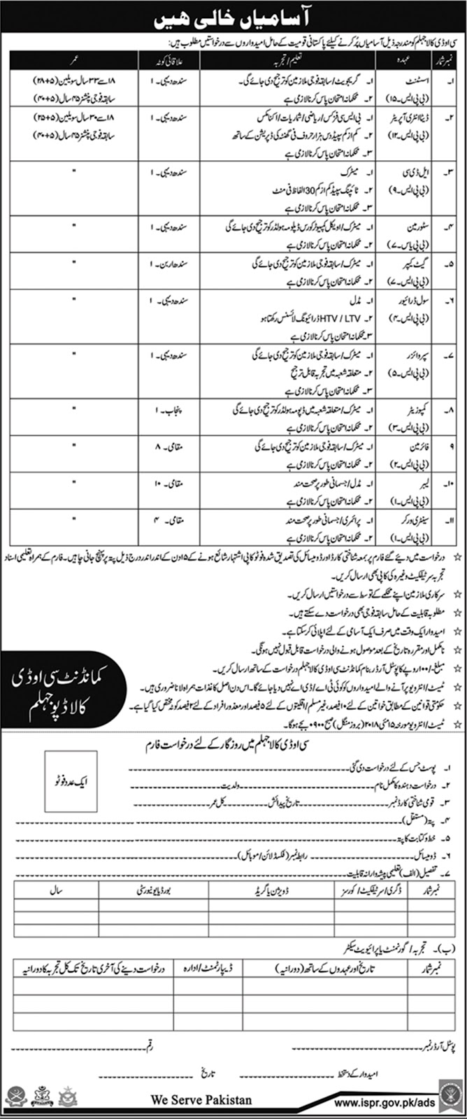 Jobs In Commandant COD Kala Depot Jhelum 2018 for 30 Posts