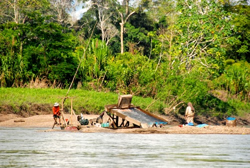 Mining for Gold Along Upper Amazon River in Peru