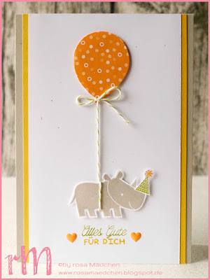 Stampin' Up! rosa Mädchen Kulmbach: Geburtstagskarte mit fliegendem Nashorn aus Zoo Babies, Luftballon und Designer Grußelemente