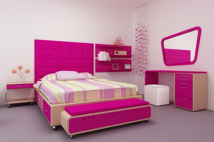 modern pink bedroom design teenagers for small room