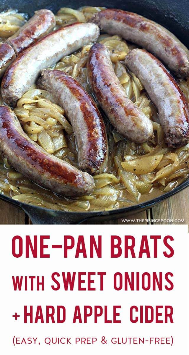 An easy recipe for savory, juicy bratwurst browned & boiled all in one pan on the stovetop with sweet onions and hard apple cider. This is a tried-and-true technique for cooking brats all-year long without a grill. {gluten-free & grain-free}