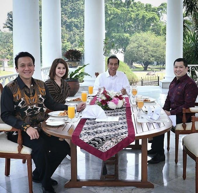 Tiga Ketua Umum Partai Bersantap Siang Bersama Presiden Joko widodo Diteras Istana Bogor