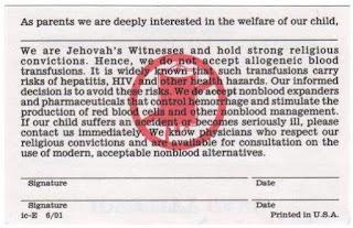 ada ribuah korban dari ajaran kultus saksi yehuwa yang menolak transfusi darah