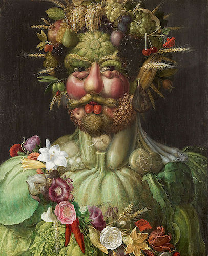 Painting of a man made entirely of vegetables, fruit, and flowers: Vertumnus, by Giuseppe Arcimboldo, 1590