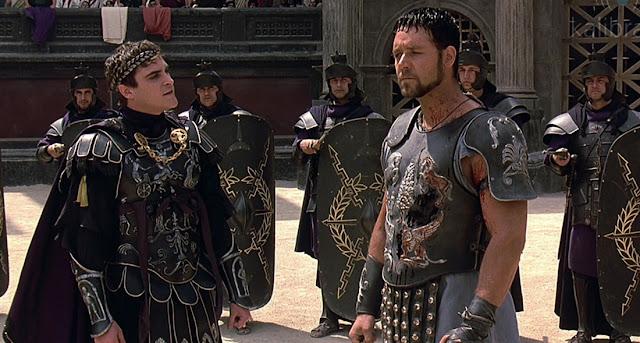 Joaquin Phoenix y Russell Crowe cara a cara en el climax final de Gladiator