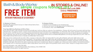 free Bath And Body Works coupons february 2017