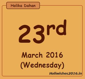 Holika Dahan 2016 Muhurat