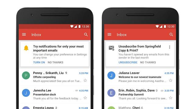 Screenshot von Benachrichtigungen in Gmail