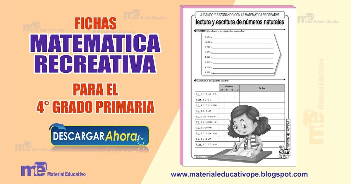 Fichas matemática recreativa 4° grado primaria ~ MATERIAL EDUCATIVO