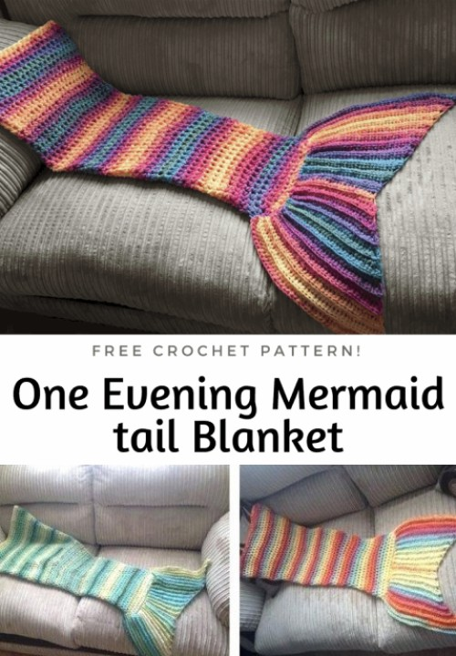 One Evening Crochet Mermaid Tail Blanket - Free Pattern