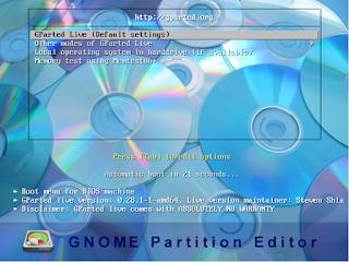 Gparted configurações live cd