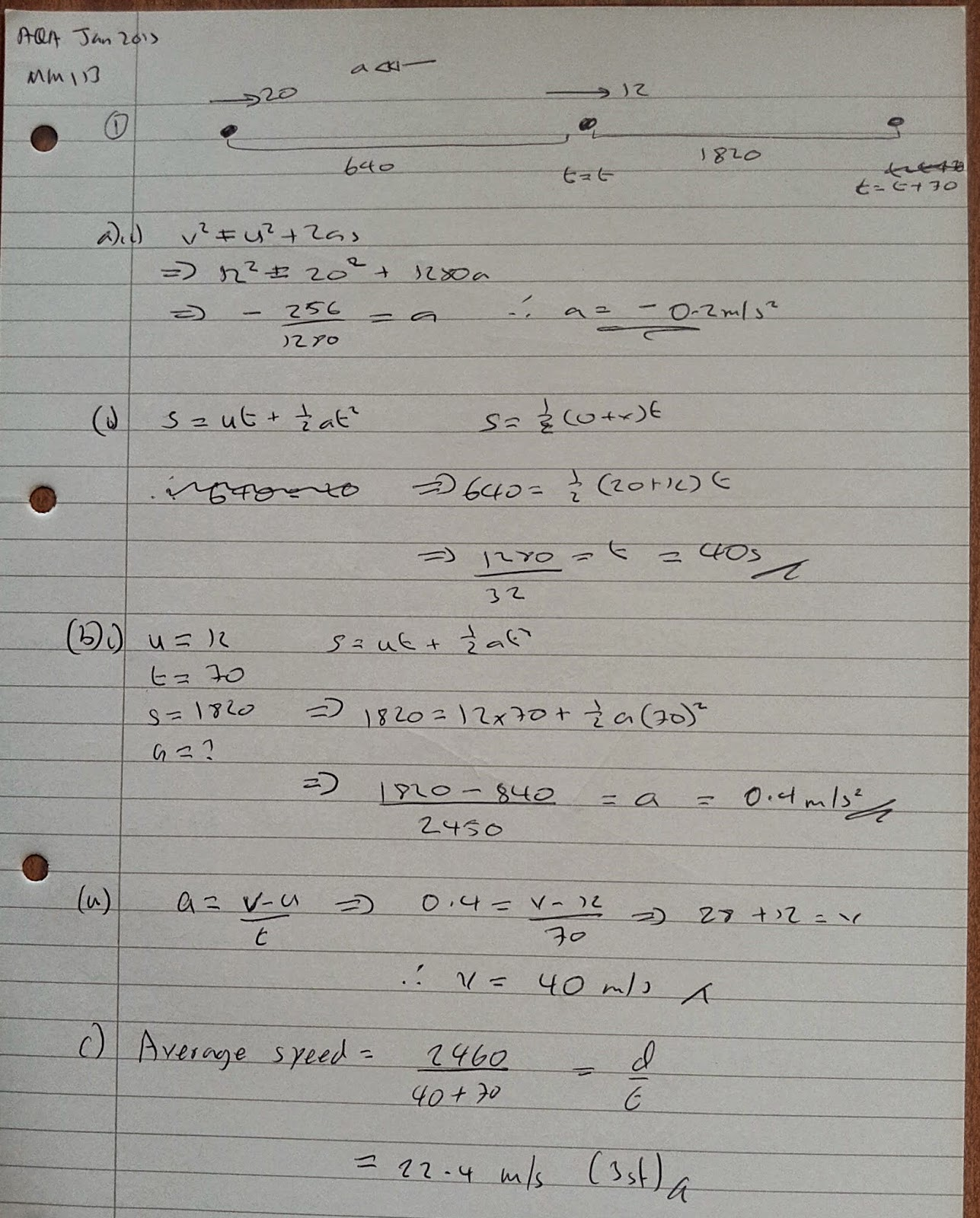 A Level Maths Notes Aqa Machanics 1 Mm1b Winter Exam Paper Solutions