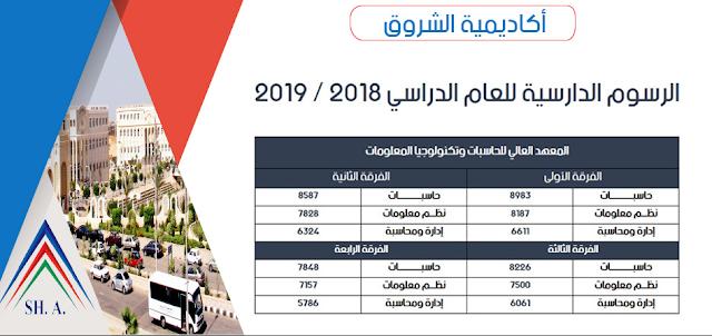 مصروفات اكاديمية الشروق 2018 المعهد العالى للحاسبات وتكنولوجيا المعلومات