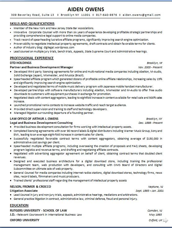 partner and business development manager sample resume