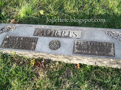 Tombstone Reba Coleman and James Mitchell Morris https://jollettetc.blogspot.com